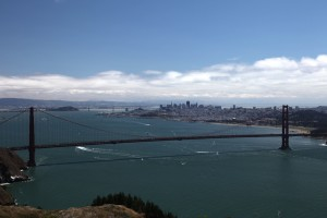 Bridge, city and bay