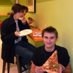 Large pizza modelled by Tom