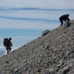 Struggling up the scree