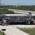 Crawler used to move the launch platform and shuttle stack to the pad